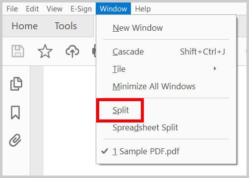 Split option in the Window menu in Adobe Acrobat