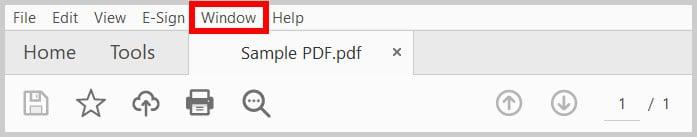 Window menu in Adobe Acrobat
