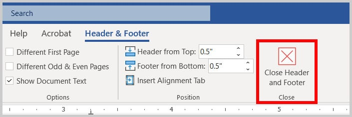 Close Header and Footer button in Word 365