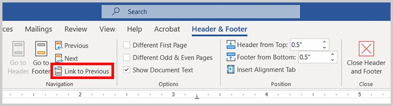Link to Previous button in the Header & Footer Tab in Word 365
