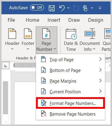 Format Page Numbers option in the Header & Footer tab in Word 365