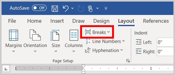 Breaks button in the Layout tab in Word 365