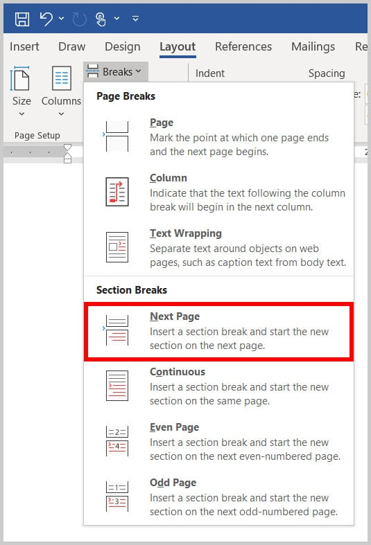 Next Page section break in Word 365