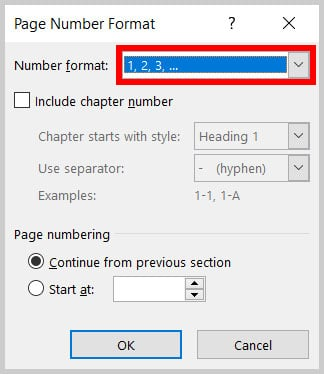 Number format menu in the Page Number Format dialog box in Word 365