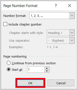 OK button in the Page Number Format dialog box in Word 365