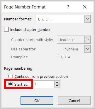 """""""Start at"""" radio button in the Page Number Format dialog box in Word 365"""