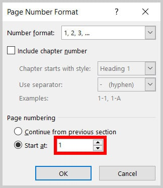 """""""Start at"""" text box in the Page Number Format dialog box in Word 365"""