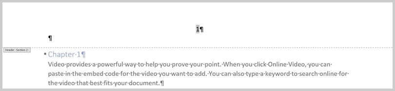 Page number in header in Word 365