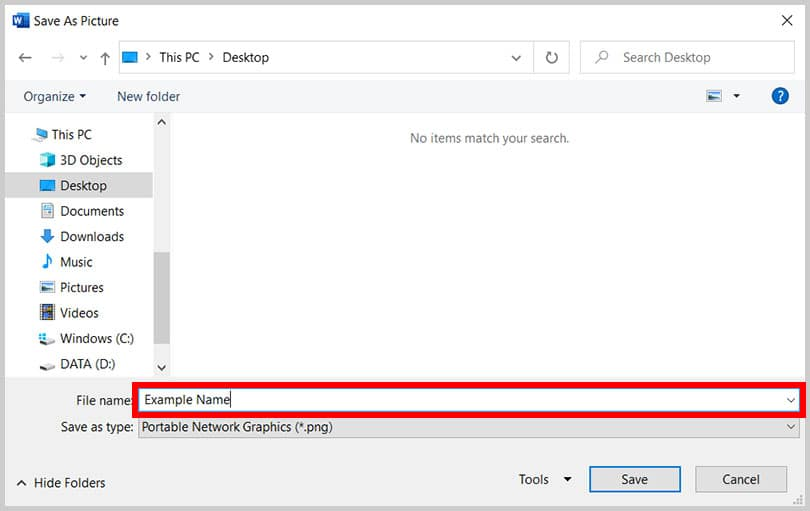 File name text box in the Save As Picture dialog box in Word 365