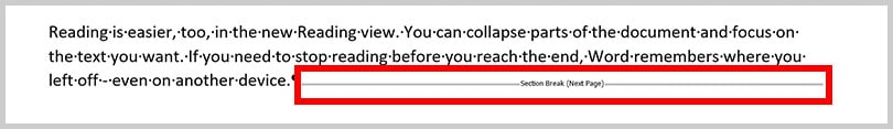 Next Page section break in text in Word 365