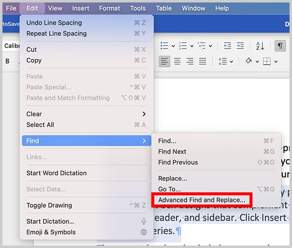 Advanced Find and Replace option in Word for Mac