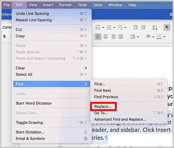 Replace option in the Edit menu in Word for Mac
