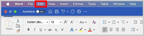 Edit menu in Word for Mac
