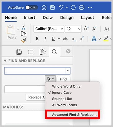 Advanced Find & Replace option in the Find and Replace pane in Word for Mac