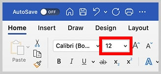 Font Size menu in Word for Mac