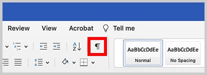 Show/Hide button in Word for Mac
