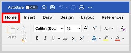 Home tab in Word for Mac
