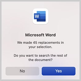 Replacement dialog box in Word for Mac