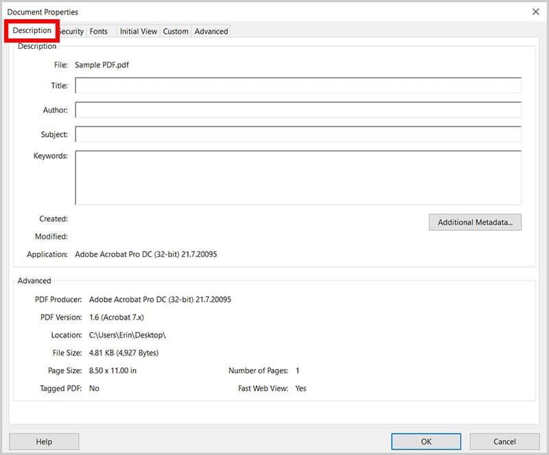 Description tab in the Document Properties dialog box in Adobe Acrobat