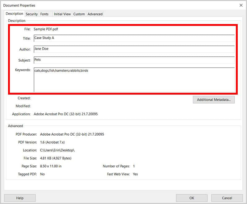 Description text boxes in the Document Properties dialog box in Adobe Acrobat
