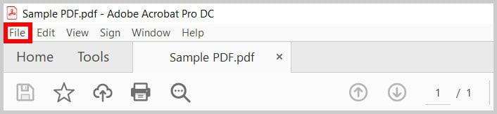 File menu in Adobe Acrobat