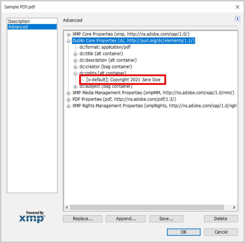 Copyright notice in the Advanced tab in the XMP dialog box in Adobe Acrobat