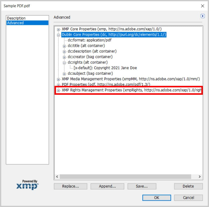 XMP Rights Management Properties in the XMP dialog box in Adobe Acrobat