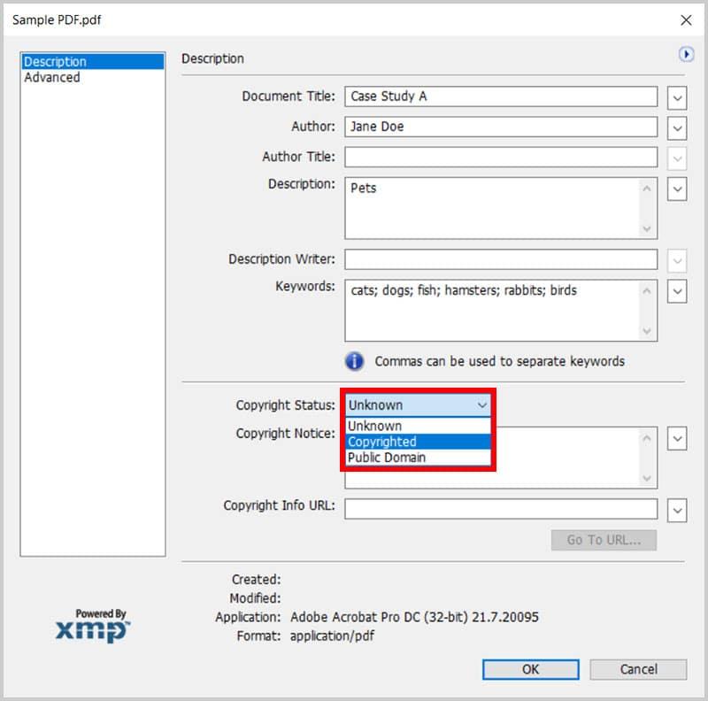 Copyright Status menu in the XMP dialog box in Adobe Acrobat